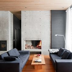 Love the simplicity of the concrete and fireplace. Great texture in this room. Concrete Fireplace, Modern Fireplace, Concrete Wall, Cabin Design, House Design, Chalet Design, Style Deco, Interior Decorating, Interior Design