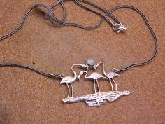 sterling silver flamingo necklace pendant with mother of pearl