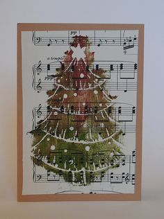 Handmade Hand Printed Vintage Sheet Music Christmas Tree Card on Etsy, £3.69