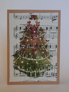 Handmade Hand Printed Vintage Sheet Music Christmas Tree Card on Etsy, Christmas Tree Art, Christmas Arts And Crafts, Xmas Crafts, Christmas Colors, Christmas Diy, Christmas Cards, Sheet Music Art, Vintage Sheet Music, Vintage Sheets
