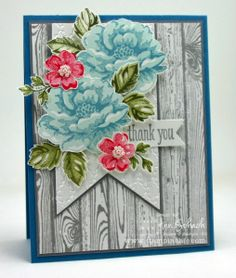 Stippled Blossoms - Ann Schach, Stamp Sets: Hardwood, Stippled Blossoms, Peaceful Petals; Inks: Soft Sky, Marina Mist, Pear Pizzazz, Always Artichoke, Primrose Petals, Smoky Slate; Cardstock: Whisper White, Smoky Slate, Marina Mist; Tools: Big Shot, Fancy Fan Textured Impressions Embossing Folder, Paper Snips, Stamp-a-ma-jig, Banners Framelits; Glitz and Glam: Pearls Basic Jewels