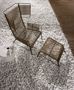 Garden armchair with footstool FIFTY By Ligne Roset design Dögg & Arnved Design Studio