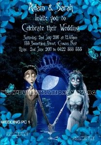 corpse bride wedding invitations | Corpse Bride Wedding & Save the Date Invitation/Invite