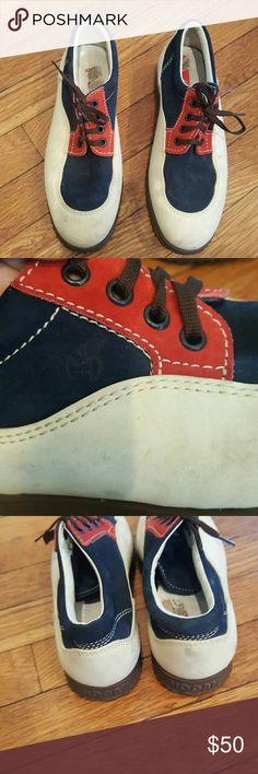 HOGAN 37.5 RED WHITE AND BLUE SNEAKERS HOGAN MADE IN ITALY LEATHER SNEAKERS 37.5 RED WHITE AND BLUE  SNEAKERS GUC HARDLY WORN Hogan Shoes Sneakers