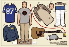 Andy Dwyer - Parks and Recreation - Paper Doll by Kyle Hilton Gus Fring, Andy Dwyer, Charlie Kelly, Leslie Knope, Jesse Pinkman, Walter White, James Franco, John Travolta, Ron Swanson
