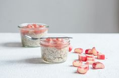 Vanilla chia seed pudding, topped with rhubarb.