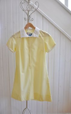 Vintage Girls School Dress Yellow Gingham  Older by WillowsRoom, £12.00