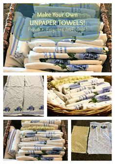 Go Green! It's so easy to make your own Unpaper Towels! These are reusable, work great, are easy to clean and keep on hand. PLUS! These save you a TON of money!