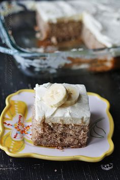 This banana cake with whipped cream frosting looks delicious!