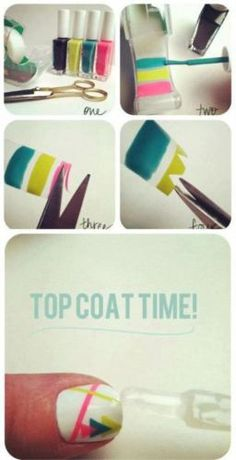 Paint on tape & then tape pattern to nails & cover with top coat -- I could do that.