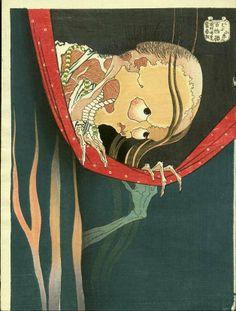 HOKUSAÏ Katsushika (1760 + 1849) - Koda de la série Hyaku monogatari (100 histoires de fantômes) - Estampe c.1890