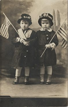 Two Little Girls with American Flags - Postcard