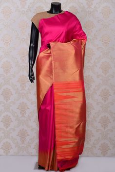 Hot pink adorable kanchipuram silk saree with Orange pallu-SR18608 - Pure Kanchipuram Real Zari - PURE HANDLOOM SILK SAREE - Sarees