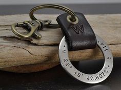 Personalized Mens Key Chain - Latitude Longitude GPS Key Chain - Personalized Leather & Stainless Steel Key Fob - Gunmetal Gems