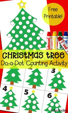 Christmas Tree Do-a-Dot Counting Activity , Christmas Tree Dot Marker Counting Activity. Fun number activity for preschoolers! Christmas Math, Toddler Christmas, Christmas Themes, Holiday Decor, Christmas 2019, Christmas Activities For Toddlers, Holiday Activities, Preschool Christmas Crafts, Counting Activities