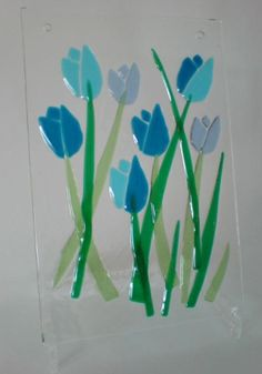 blue tulips fused glass
