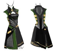 """""""Finally drew the back of my Loki dress. I might revise it when I actually go to create it."""""""