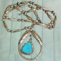 Native American Turquoise Jewelry | Large Vintage Sterling Turquoise Native American Indian Necklace from ...