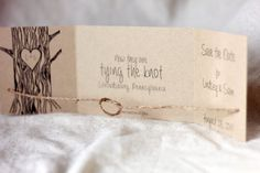 This rustic save the date ties the knot as the card is open. Created from high quality recycled kraft cardstock, the cards are the perfect