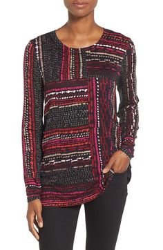 Free shipping and returns on NIC+ZOE 'Dotted Lines' Top (Regular & Petite) at Nordstrom.com. A patchwork of dotted lines popped with vibrant pink and red tones enlivens a soft jersey top blocked with solid black in back.