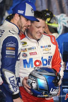 2016 Champion and race winner Jimmie Johnson, Hendrick Motorsports Chevrolet, Tony Stewart, Stewart-Haas Racing