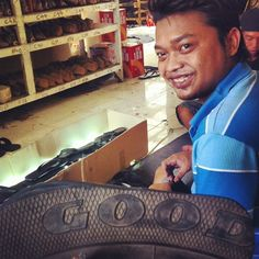 Peak into the indo production - all good! Kadek is the man when it comes to the tire sole connection process. Plus he's got jokes. Thanks Kadek!