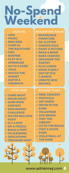 No-Spend Weekend ideas. No need to go broke over the weekends, there are plenty of fun, FREE things to do.  Sincerely,  Your wallet