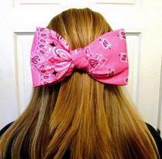 Bandana hair bow bandana bow large hair by ShelbysCountryCorner