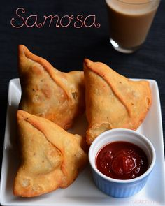Samosa recipe with quick video, step by step detailed picture on how to get that perfect cone shape. Samosa is usually stuffed with potato stuffing. Indian Snacks, Indian Food Recipes, Asian Recipes, Ethnic Recipes, Curry Recipes, Indian Foods, Snack Recipes, Chaat Masala, Garam Masala