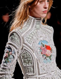 Love this! Balmain |   fall 2012. Inspired by Elizabeth Taylor's Faberge egg on display in New York this collection saw ornate detail and plenty of pearls!