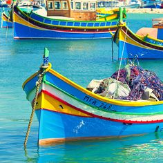 I love the colours of the fishing boats in Malta. Makes habours all the more special :D Marsaxlokk Malta by Allard On Saint Marin, Malta Gozo, Boat Art, Boat Painting, Fishing Villages, Small Boats, Wooden Boats, Fishing Boats, Belle Photo