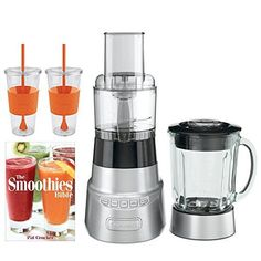 Cuisinart SmartPower BFP603 DieCast Metal Blender and Food Processor w Bundle Includes Pat Crocker The Smoothies Bible Paperback  2x Copco Eco First Tumbler 24Oz Togo Cup Mug  Orange *** Read more reviews of the product by visiting the link on the image.