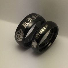 King and Queen Rings Personalized Custom Engraved Stainless