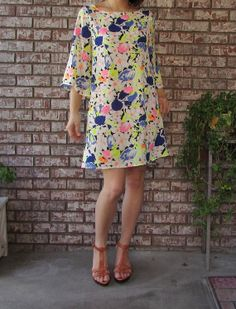 Neon bell sleeve A line dress by eloges on Etsy, $29.00