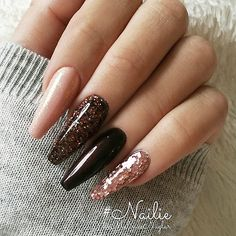 "2,824 Likes, 10 Comments - TheGlitterNail Get inspired! (@theglitternail) on Instagram: ""✨ REPOST - - • - - Nude, Brown and Glitters on long Coffin Nails ✨ - - • - - Picture and Nail…"""