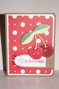 A Cherry Hello #Cricut #card #MyPinkStamper