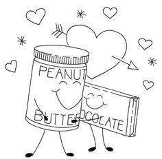 Peanut Butter And Chocolate Coloring Free - Food cartoon coloring pages