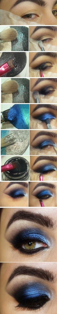 Blue & Black Inspired # Makeup Tutorials Step by Step http://thepageantplanet.com/category/hair-and-makeup/