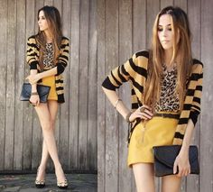 Mixing patterns: Yellow bold skirt, leopard print shirt and striped cardigan! Play with the yellow tones.