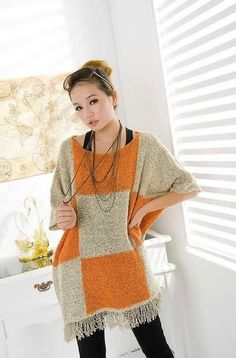 Euro Style Women Loose Half Sleeve Yellow Knitting Sweater One Size @YIF10863y