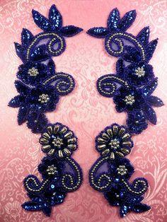 0183 bleu Royal miroité argent paire paillettes par gloryshouse