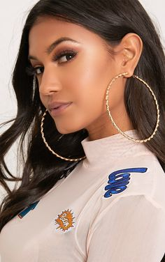 Gold Twisted Metal Hoop Earringsadd Knock Out Glamour To Any Outfit With These Oversized And Super Chic Earrings