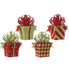 "RAZ Flocked Christmas Present Ornament Set of 4     4 Assorted styles       Set includes one of each style       Red, Lime Green       Made of Tin       Measures 5""       RAZ"