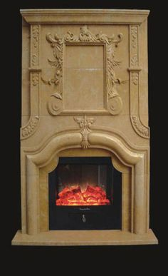 Stone Overmantel Fireplace - Marble - Cast Stone Surrounds - Limestone Upper