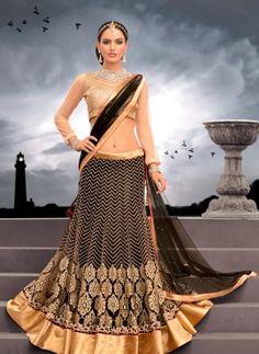 Black & Gold net lehenga choli for weddigs
