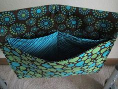 Walker Bag in Turquoise Green and Brown DOTS Print by RuthsDesign, $35.00