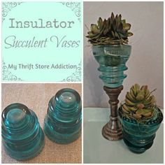 Repurpose: Glass Insulators as Succulent Vases! repurpose glass insulators as succulent vases, gardening, home decor, repurposing upcycling, succulents Insulator Lights, Glass Insulators, Electric Insulators, Nintendo Console, Deco Luminaire, Aqua Glass, Thrift Store Crafts, Repurposed Items, Reuse Recycle