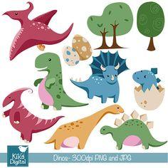 Baby Dinosaur - Digital Clip art / Scrapbook - card design, invitations…