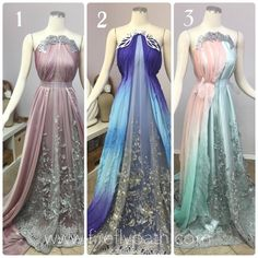 Which color combo do you like most? Mode Outfits, Dress Outfits, Fashion Outfits, Pretty Outfits, Pretty Dresses, Fantasy Gowns, Fairy Dress, Medieval Dress, Beautiful Gowns