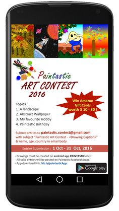 #PaintasticArtContest2016 Create drawing on android app Paintastic bit.ly/paintasticApp and submit to paintastic.contest@gmail.com and win Amazon Gift cards !!